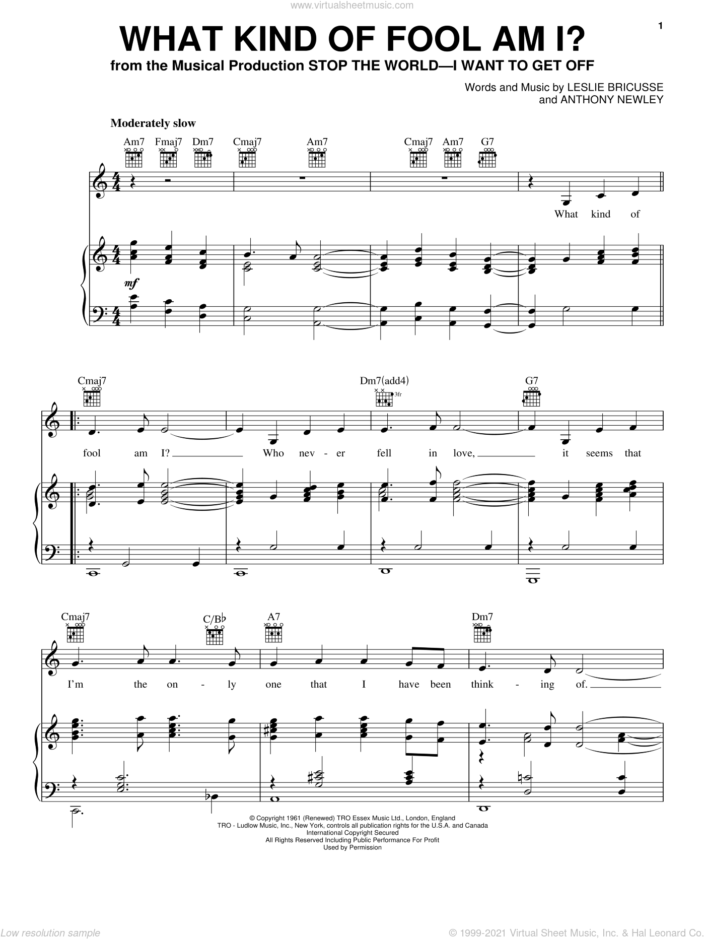 What Kind Of Fool Am I? sheet music for voice, piano or guitar by Leslie Bricusse, Bill Evans, Robert Goulet, Sammy Davis, Jr., Sarah Vaughan and Anthony Newley, intermediate. Score Image Preview.