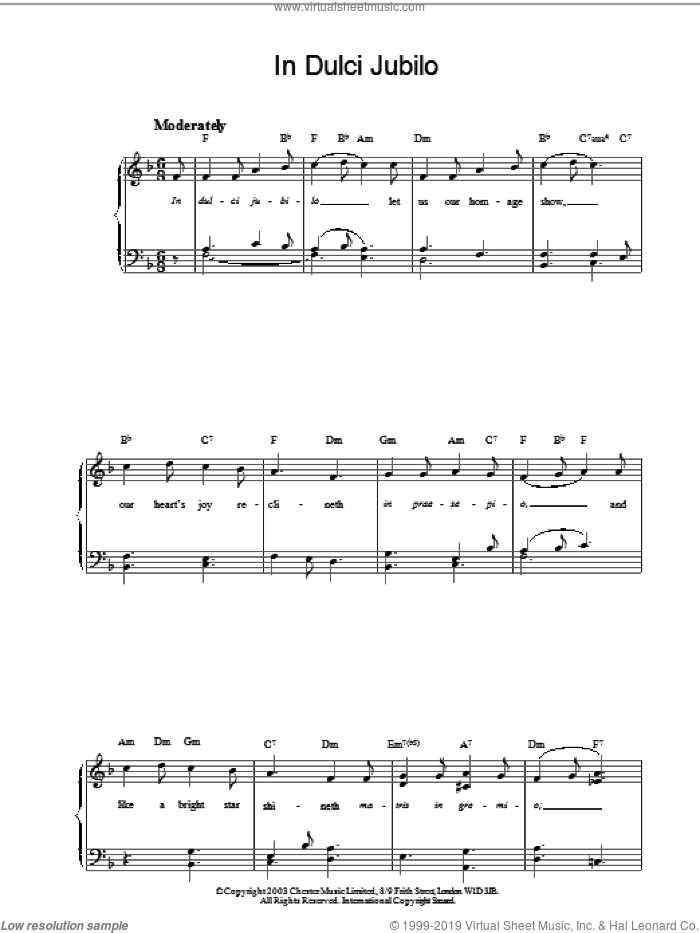 In Dulci Jubilo sheet music for piano solo, intermediate skill level