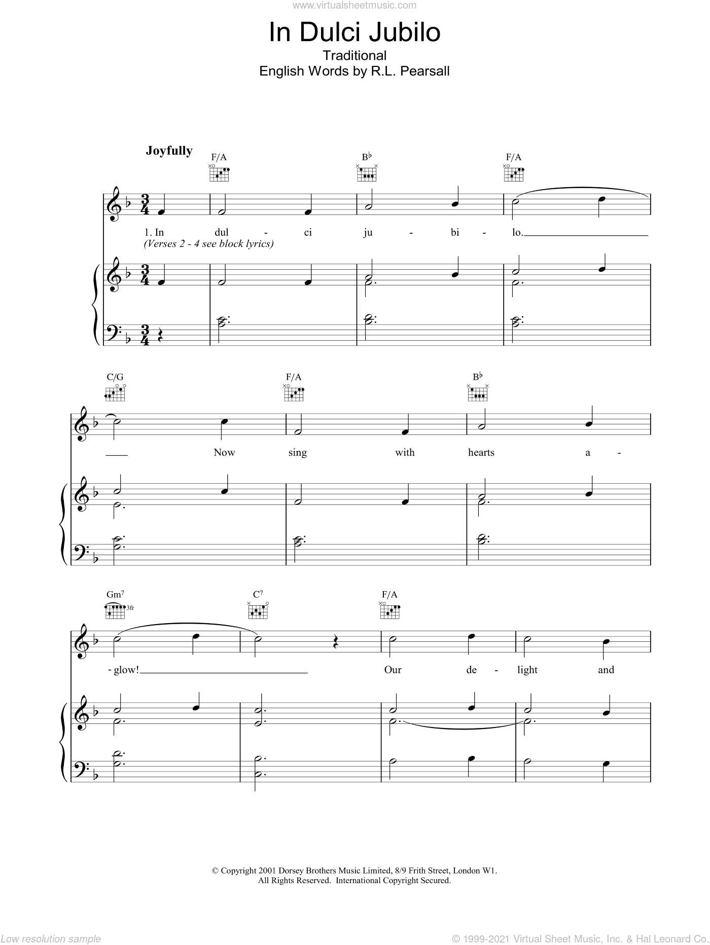 In Dulce Jubilo sheet music for voice, piano or guitar. Score Image Preview.