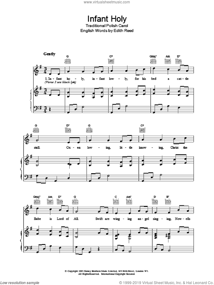 Infant Holy sheet music for voice, piano or guitar, intermediate. Score Image Preview.