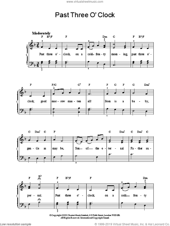 Past Three O' Clock sheet music for piano solo. Score Image Preview.