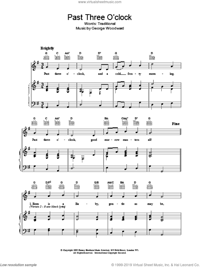Past Three O Clock sheet music for voice, piano or guitar. Score Image Preview.