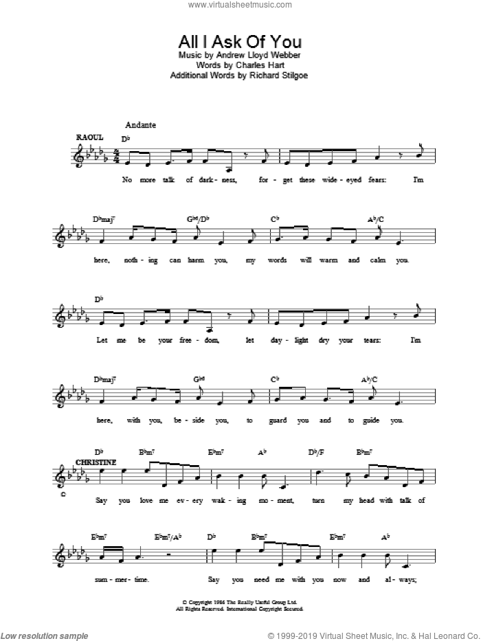 All I Ask Of You sheet music for voice and other instruments (fake book) by Andrew Lloyd Webber. Score Image Preview.