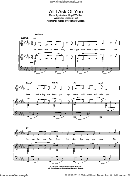All I Ask Of You sheet music for voice, piano or guitar by Andrew Lloyd Webber. Score Image Preview.