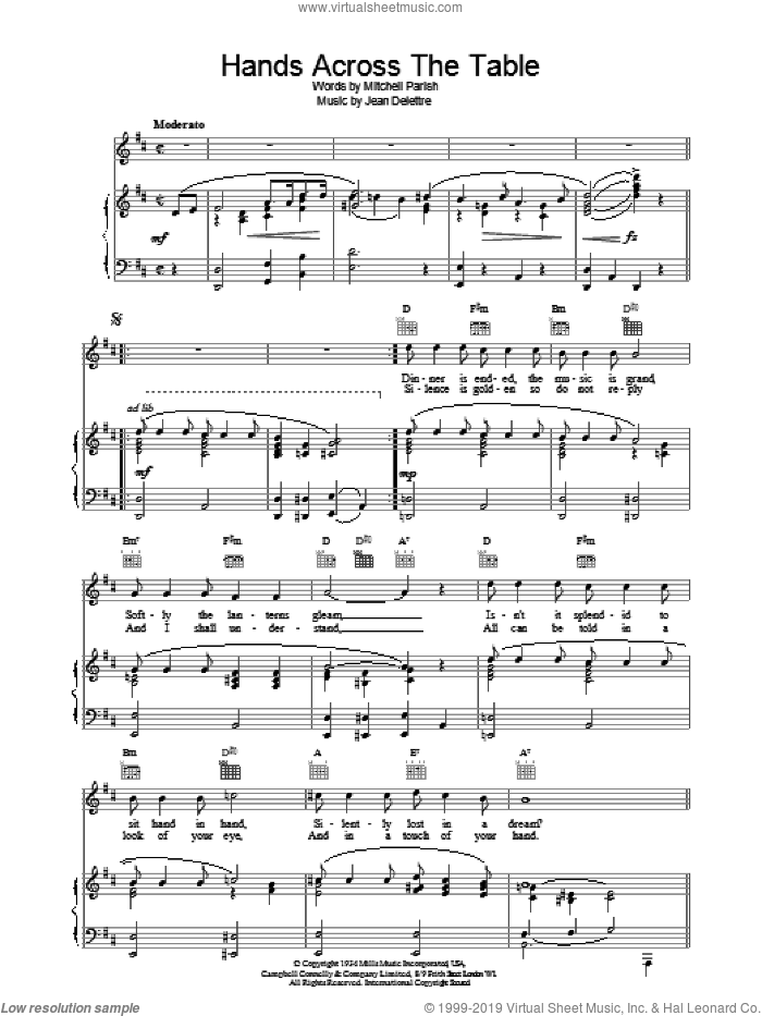 Hands Across The Table sheet music for voice, piano or guitar by Mitchell Parish and Jean Delettre, intermediate skill level