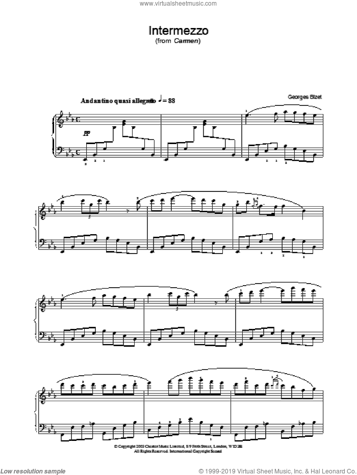 Intermezzo sheet music for piano solo by Georges Bizet. Score Image Preview.