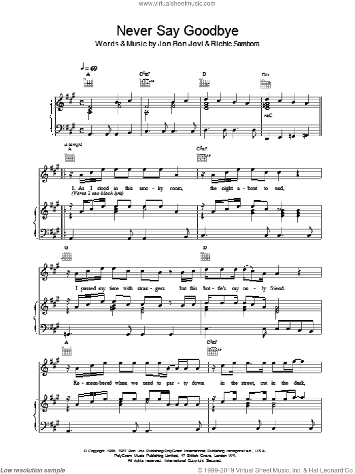 Never Say Goodbye sheet music for voice, piano or guitar by Bon Jovi, intermediate