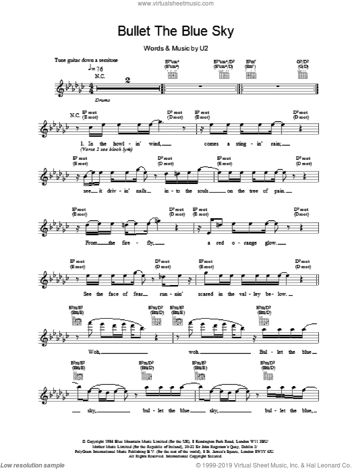 Bullet The Blue Sky sheet music for voice and other instruments (fake book) by U2, intermediate. Score Image Preview.