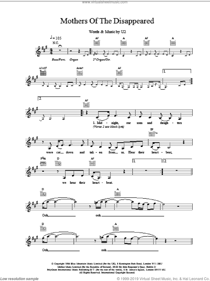 Mothers Of The Disappeared sheet music for voice and other instruments (fake book) by U2, intermediate skill level
