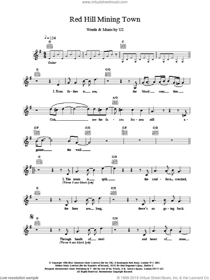 Red Hill Mining Town sheet music for voice and other instruments (fake book) by U2, intermediate. Score Image Preview.