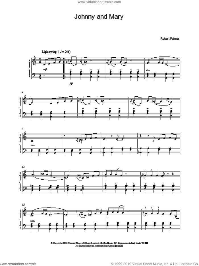 Johnny and Mary sheet music for piano solo by Robert Palmer. Score Image Preview.