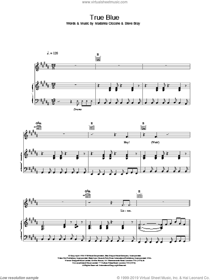 True Blue sheet music for voice, piano or guitar by Madonna, intermediate. Score Image Preview.