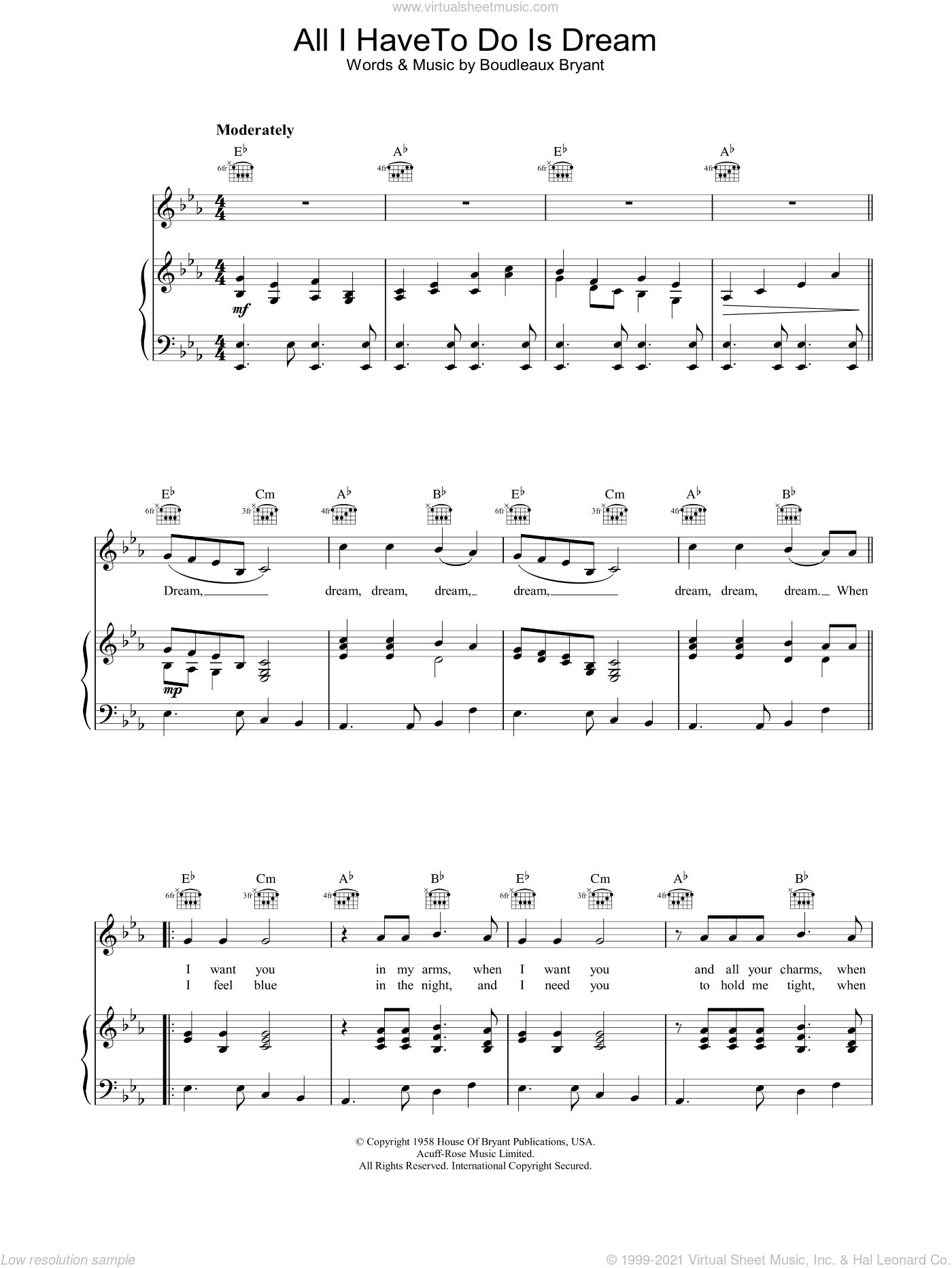 All I Have To Do Is Dream sheet music for voice, piano or guitar by Everly Brothers, intermediate. Score Image Preview.