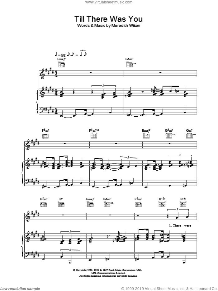 Till There Was You sheet music for voice, piano or guitar by Rod Stewart, intermediate skill level