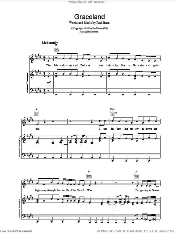 Graceland sheet music for voice, piano or guitar by Paul Simon, intermediate. Score Image Preview.