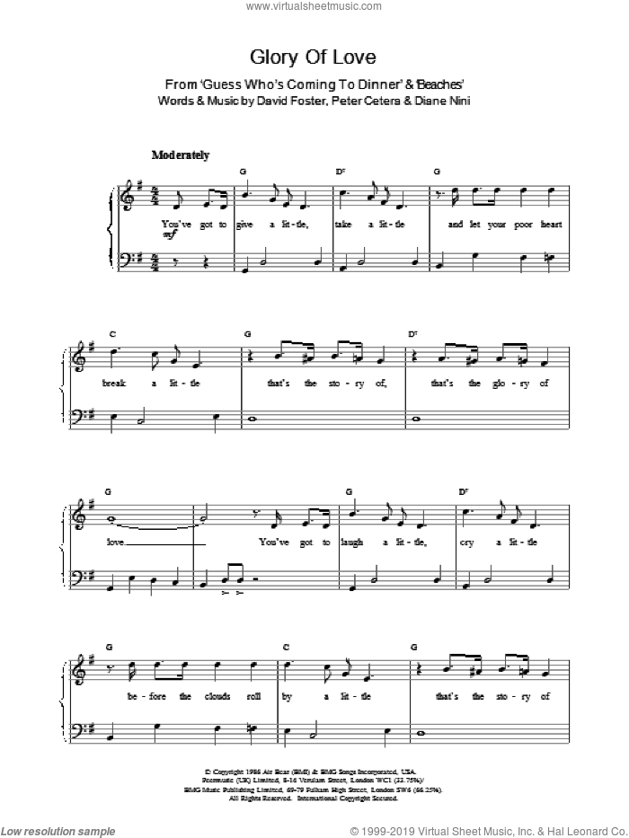 Glory Of Love sheet music for piano solo by Peter Cetera and David Foster, easy skill level