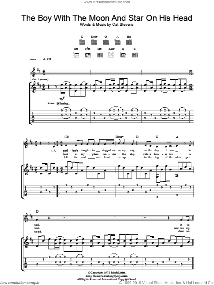 The Boy With The Moon And Star On His Head sheet music for guitar (tablature) by Cat Stevens