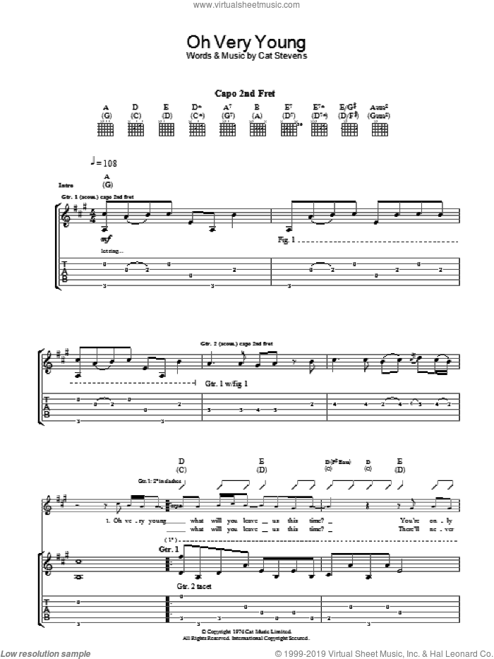 Oh Very Young sheet music for guitar (tablature) by Cat Stevens. Score Image Preview.