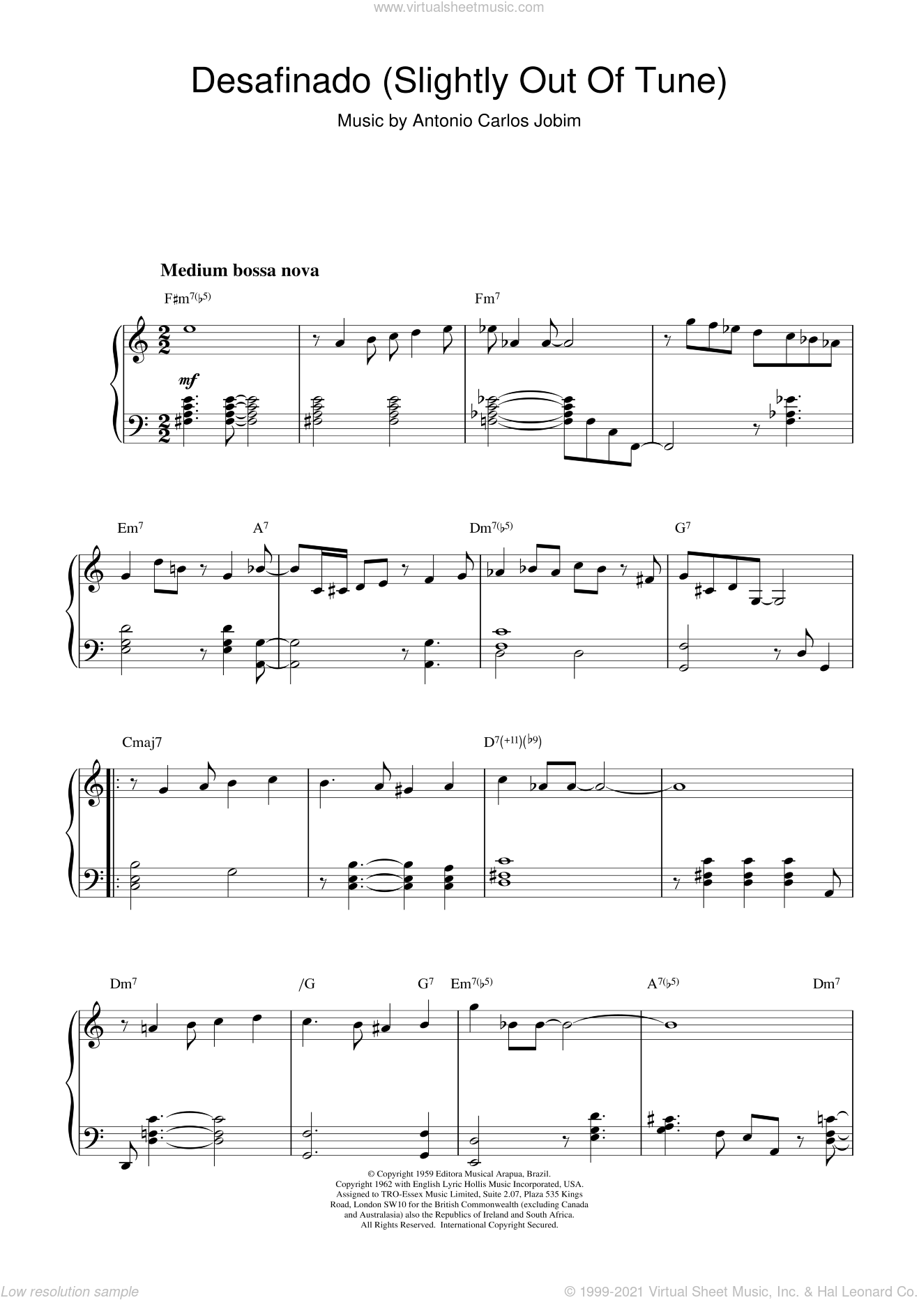 Desafinado (Slightly Out Of Tune) sheet music for piano solo by Antonio Carlos Jobim, George Gershwin, Jessie Cavanaugh and Jon Hendricks, intermediate skill level