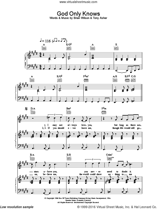 God Only Knows sheet music for voice, piano or guitar by The Beach Boys. Score Image Preview.
