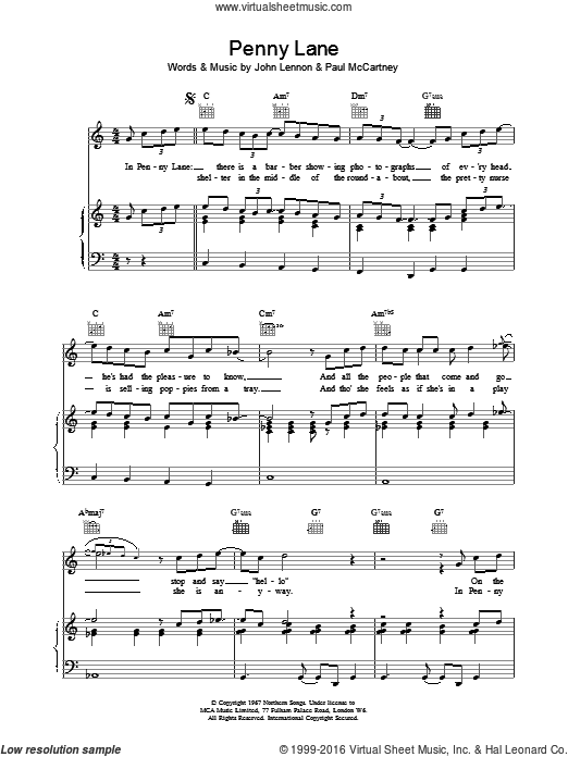 Penny Lane sheet music for voice, piano or guitar by The Beatles. Score Image Preview.