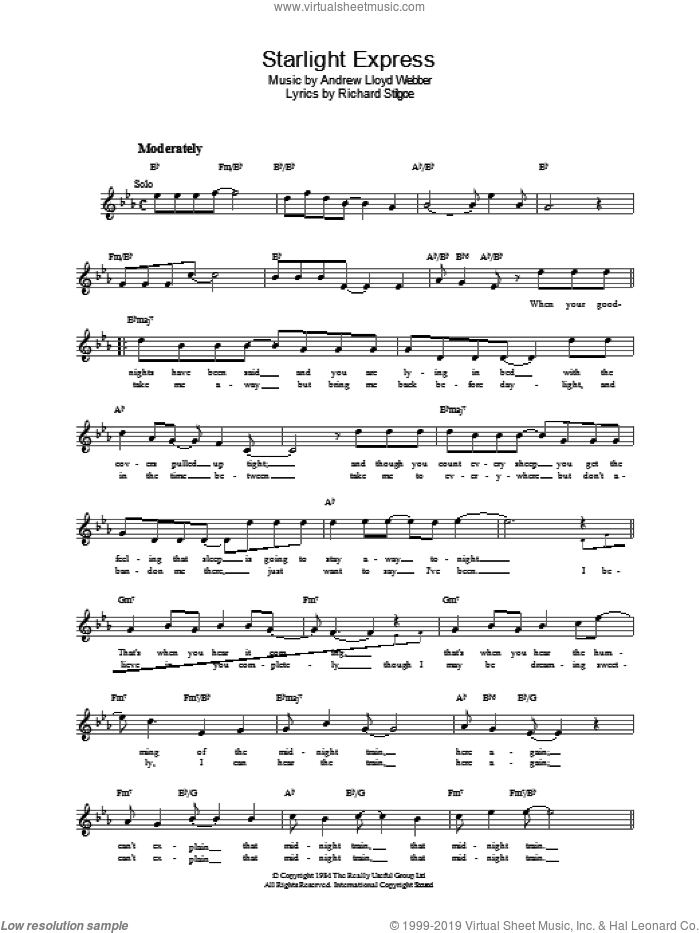 Starlight Express sheet music for voice and other instruments (fake book) by Andrew Lloyd Webber. Score Image Preview.