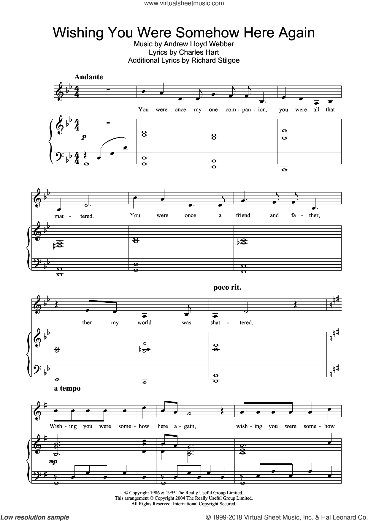 Wishing You Were Somehow Here Again sheet music for voice, piano or guitar by Richard Stilgoe, Hayley Westenra, Andrew Lloyd Webber and Charles Hart. Score Image Preview.