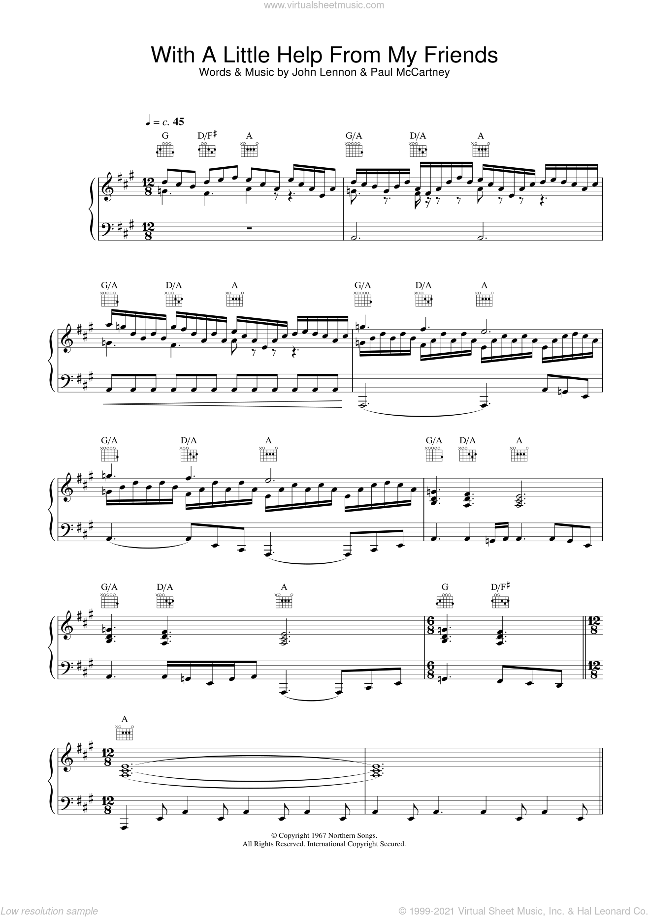 With A Little Help From My Friends sheet music for voice, piano or guitar by Joe Cocker, John Lennon and Paul McCartney, intermediate skill level