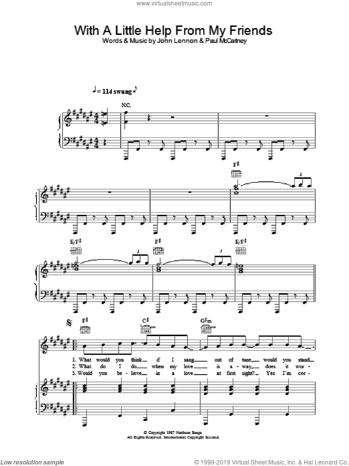 With A Little Help From My Friends sheet music for voice, piano or guitar by Sam And Mark