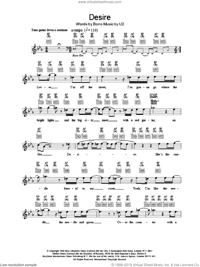 Desire sheet music for voice and other instruments (fake book) by U2 and Bono, intermediate voice. Score Image Preview.