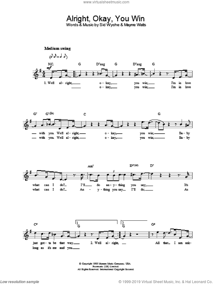 Alright, Okay, You Win sheet music for voice and other instruments (fake book) by Elvis Presley and Wyche And Watts, intermediate skill level