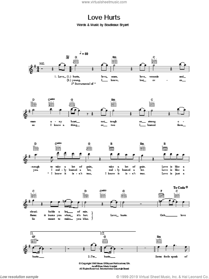 Love Hurts sheet music for voice and other instruments (fake book) by Nazareth. Score Image Preview.