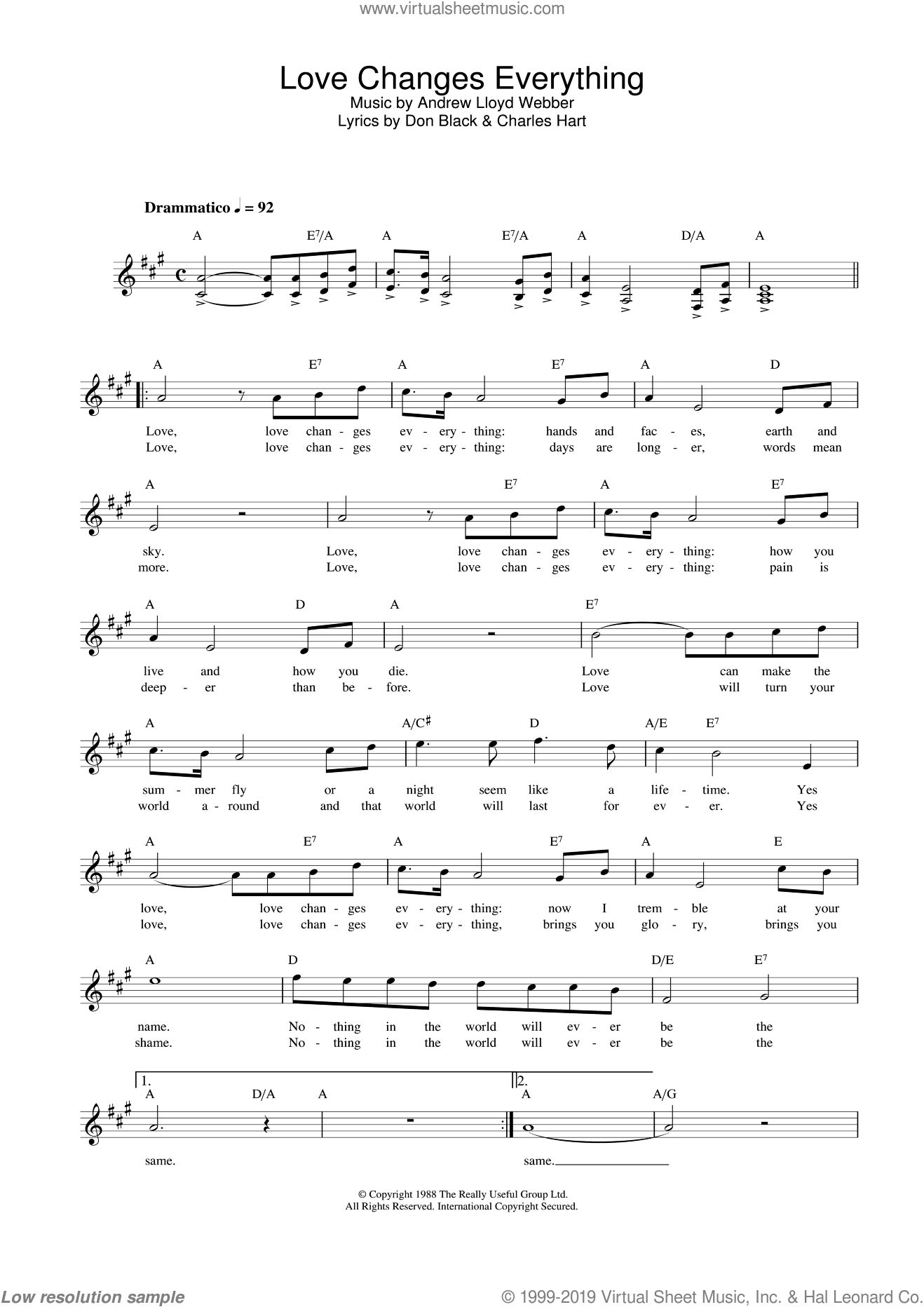 Love Changes Everything (from Aspects Of Love) sheet music for voice and other instruments (fake book) by Andrew Lloyd Webber, Michael Ball, Charles Hart and Don Black, intermediate skill level