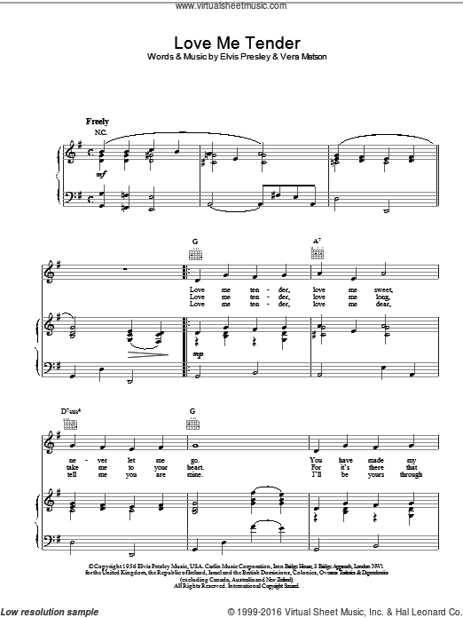 Love Me Tender sheet music for voice, piano or guitar by Vera Matson and Elvis Presley. Score Image Preview.