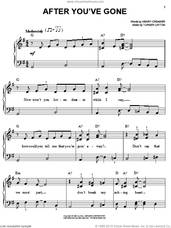 Cover icon of After You've Gone sheet music for piano solo by Sophie Tucker, Henry Creamer and Turner Layton, easy skill level