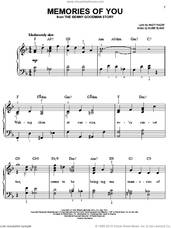 Cover icon of Memories Of You sheet music for piano solo by Rosemary Clooney, Andy Razaf and Eubie Blake, easy skill level