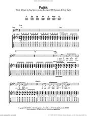 Cover icon of Politik sheet music for guitar (tablature) by Coldplay, intermediate skill level