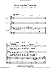 Cover icon of Thank You For The Music (arr. Rick Hein) sheet music for choir (2-Part) by ABBA, Rick Hein, Benny Andersson, Bjorn Ulvaeus and Miscellaneous, intermediate duet