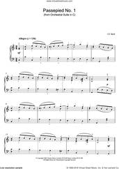 Cover icon of Passepied No. 1 (from Orchestral Suite in C) sheet music for piano solo by Johann Sebastian Bach, classical score, intermediate skill level
