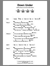 Cover icon of Down Under sheet music for guitar (chords) by Men At Work, Colin Hay and Ron Strykert, intermediate skill level