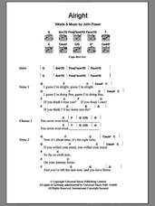 Cover icon of Alright sheet music for guitar (chords) by John Power, intermediate skill level
