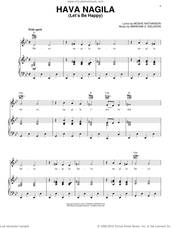 Cover icon of Hava Nagila (Let's Be Happy) sheet music for voice, piano or guitar by Moshe Nathanson and Abraham Z. Idelsohn, intermediate skill level