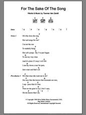 Cover icon of For The Sake Of The Song sheet music for guitar (chords) by Townes Van Zandt, intermediate skill level