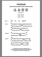 Cover icon of Heartbeats sheet music for guitar (chords) by Jose Gonzalez, Andersson Dreijer and Olof Bjorn Dreijer, intermediate skill level