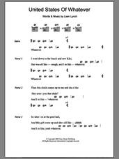 Cover icon of United States Of Whatever sheet music for guitar (chords) by Liam Lynch, intermediate skill level