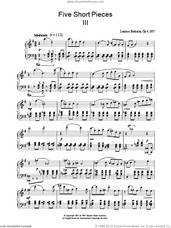 Cover icon of Five Short Pieces, No. 3, Op. 4 sheet music for piano solo by Lennox Berkeley, classical score, intermediate skill level