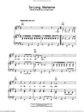 Cover icon of So Long, Marianne sheet music for voice, piano or guitar by Leonard Cohen, intermediate skill level
