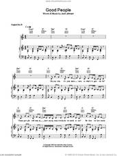 Cover icon of Good People sheet music for voice, piano or guitar by Jack Johnson, intermediate skill level
