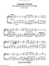 Cover icon of Larghetto (Theme) from 'Spring' Symphony No.1 in Bb Major sheet music for piano solo by Robert Schumann, classical score, intermediate skill level