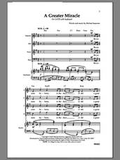 Cover icon of A Greater Miracle sheet music for choir (SATB: soprano, alto, tenor, bass) by Michael Isaacson, intermediate skill level